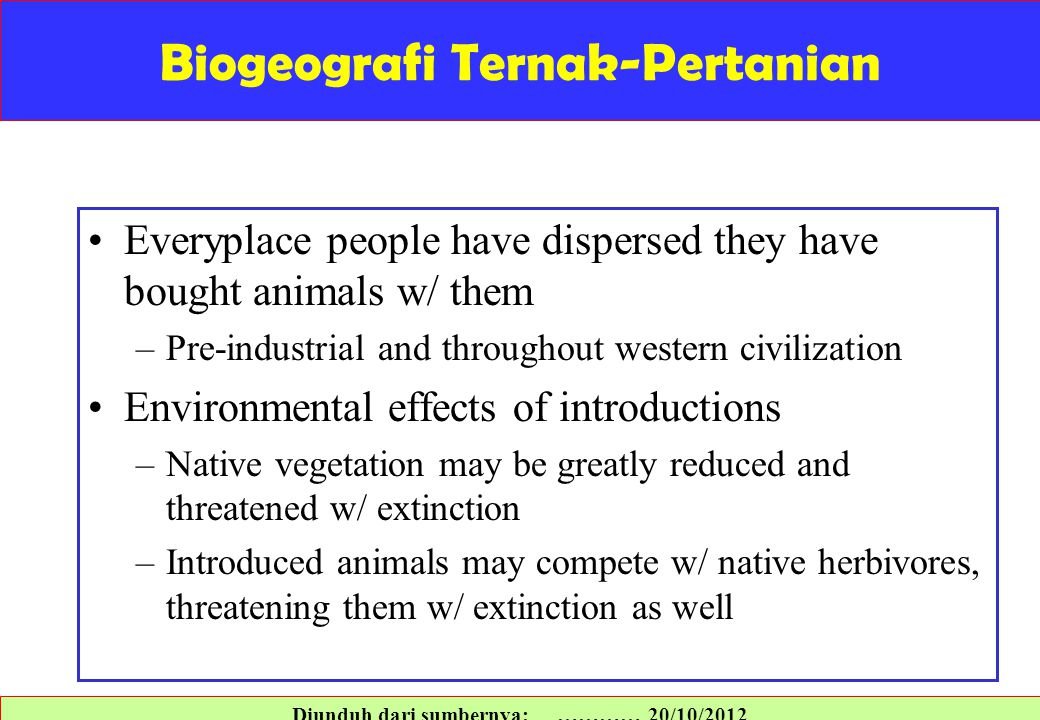 Biogeografi Ternak-Pertanian
