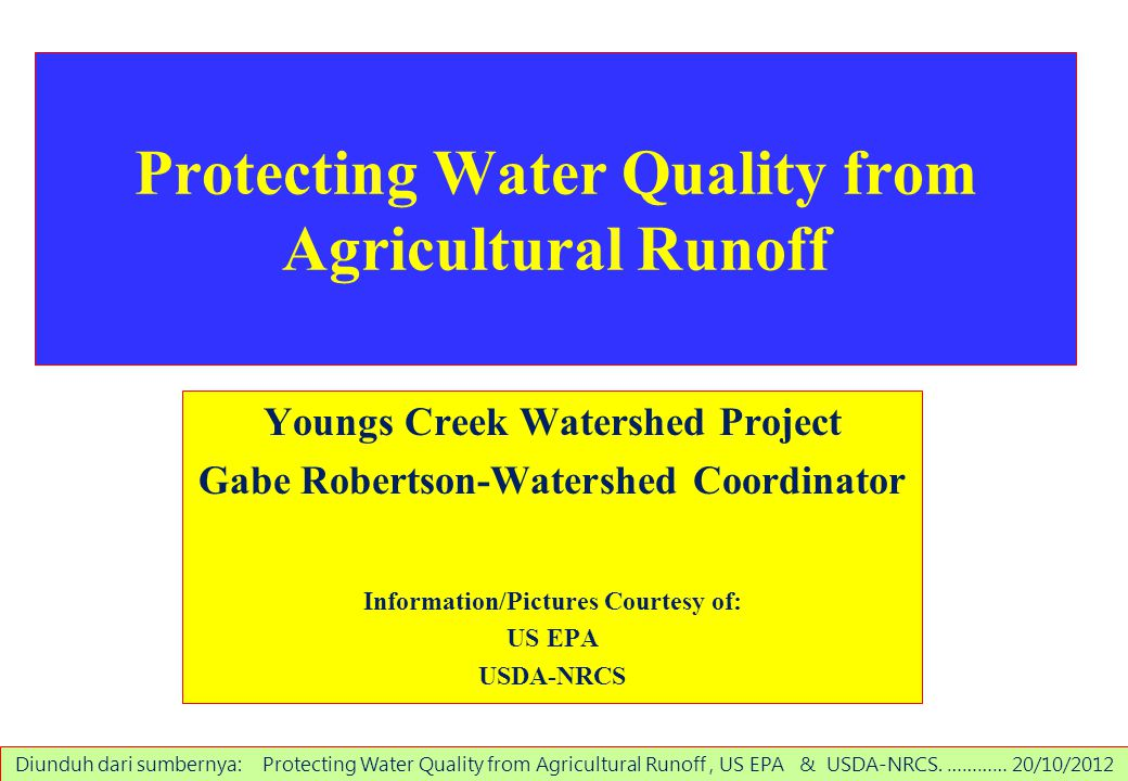 Protecting Water Quality from Agricultural Runoff