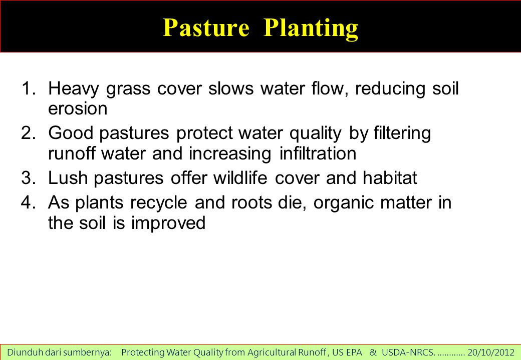 Pasture Planting Heavy grass cover slows water flow, reducing soil erosion.