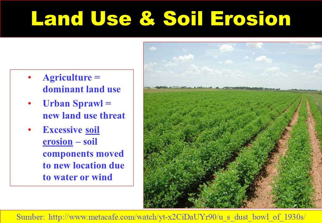 Land Use & Soil Erosion Agriculture = dominant land use