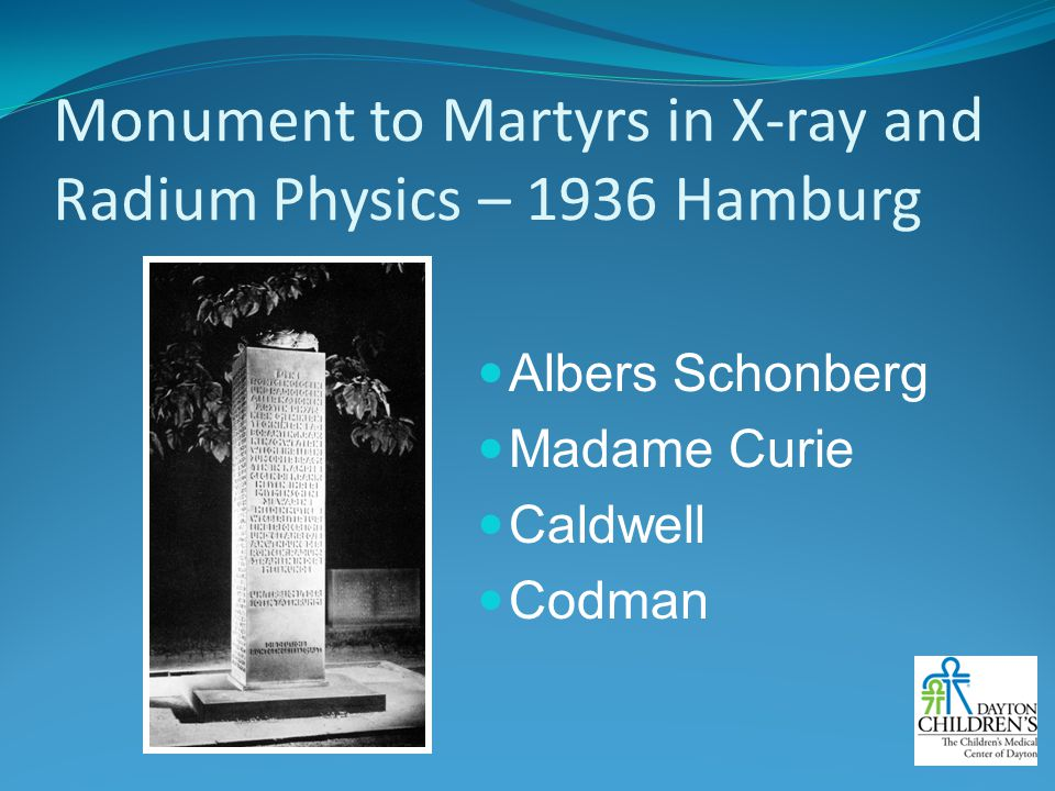 Monument to Martyrs in X-ray and Radium Physics – 1936 Hamburg