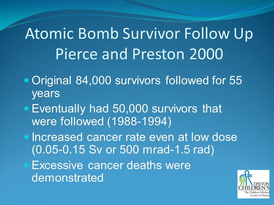 Atomic Bomb Survivor Follow Up Pierce and Preston 2000
