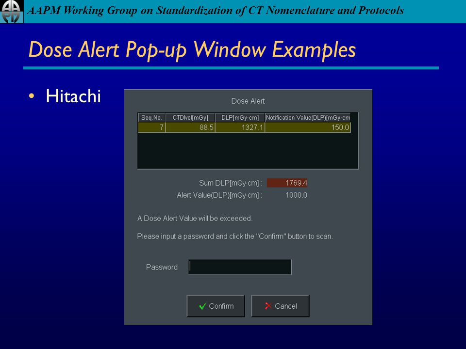 Dose Alert Pop-up Window Examples