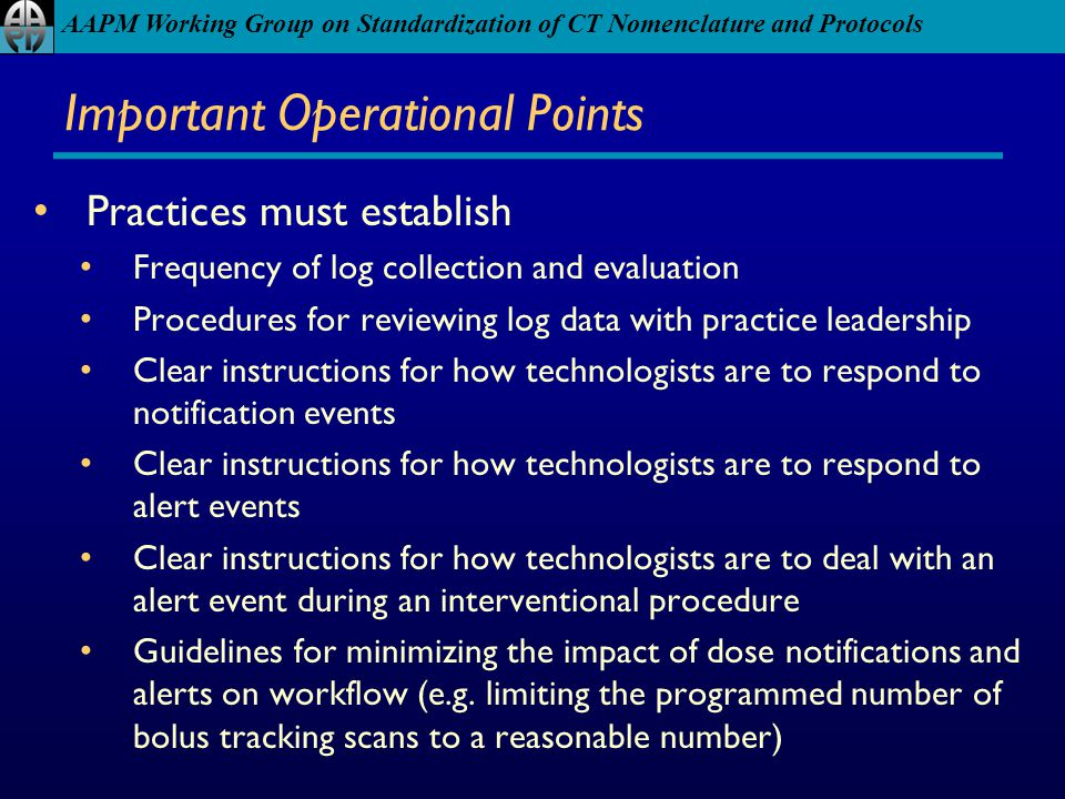 Important Operational Points