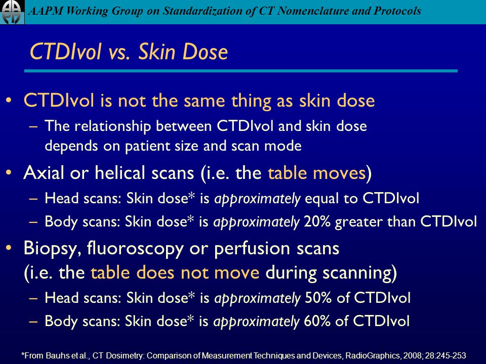 CTDIvol vs. Skin Dose CTDIvol is not the same thing as skin dose