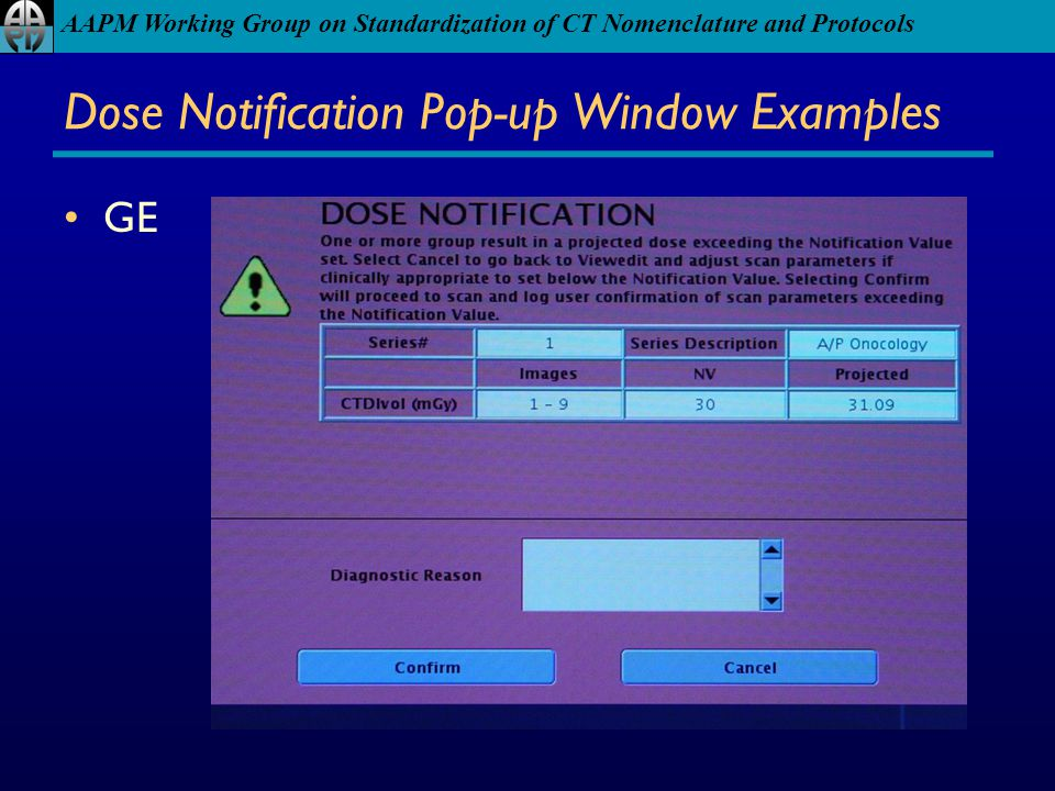 Dose Notification Pop-up Window Examples