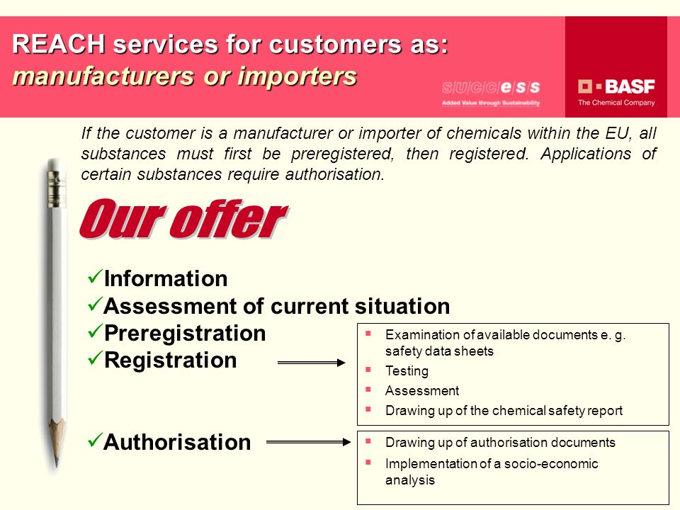 REACH services for customers as: manufacturers or importers