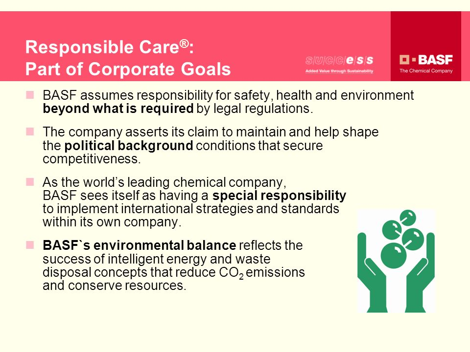 Responsible Care®: Part of Corporate Goals