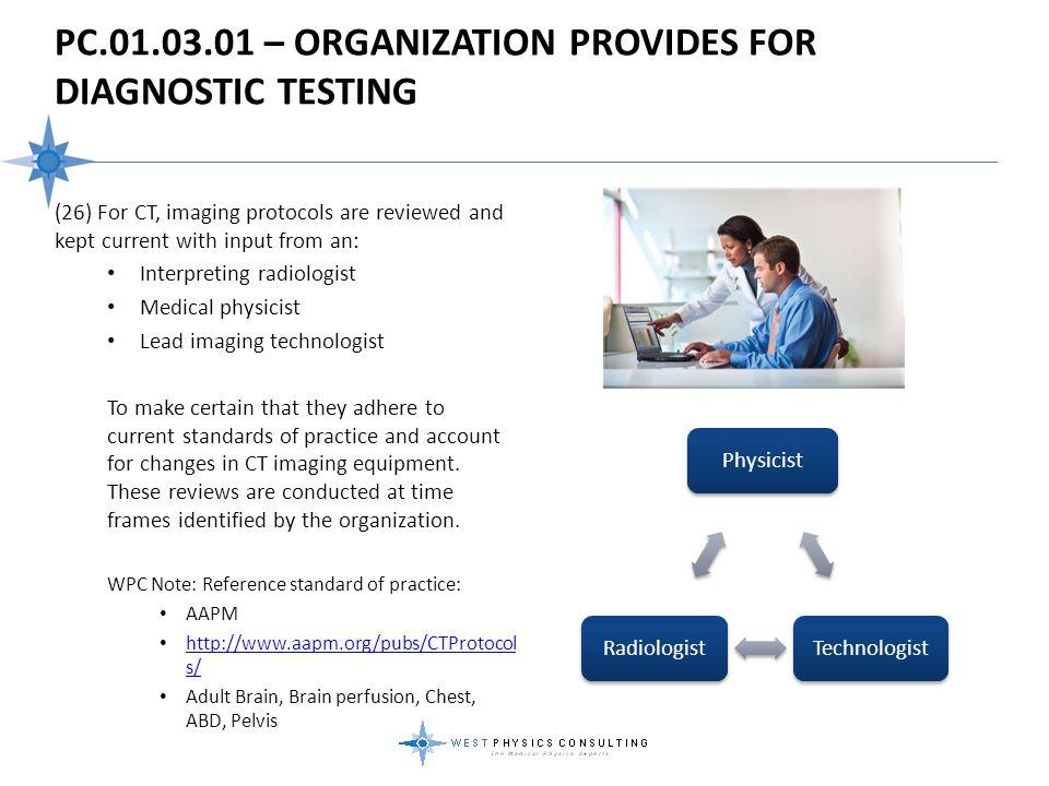 PC.01.03.01 – Organization Provides For Diagnostic Testing