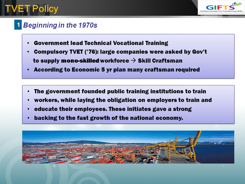 TVET Policy Beginning in the 1970s 1