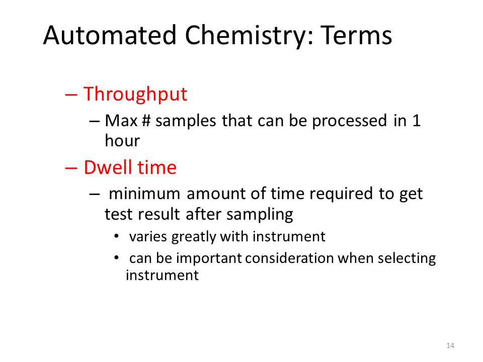 Automated Chemistry: Terms