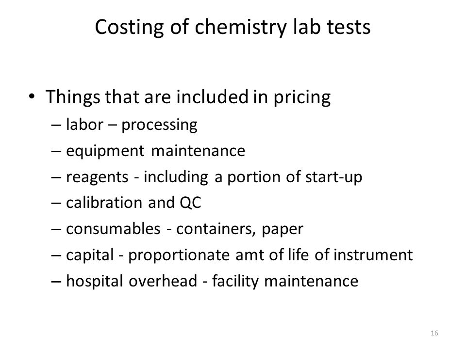 Costing of chemistry lab tests