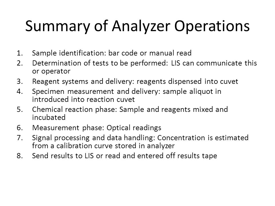 Summary of Analyzer Operations