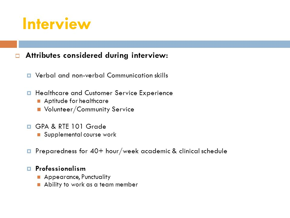 Interview Attributes considered during interview: