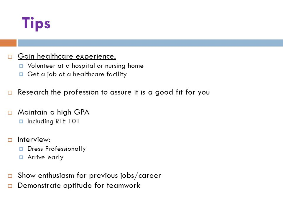 Tips Gain healthcare experience: