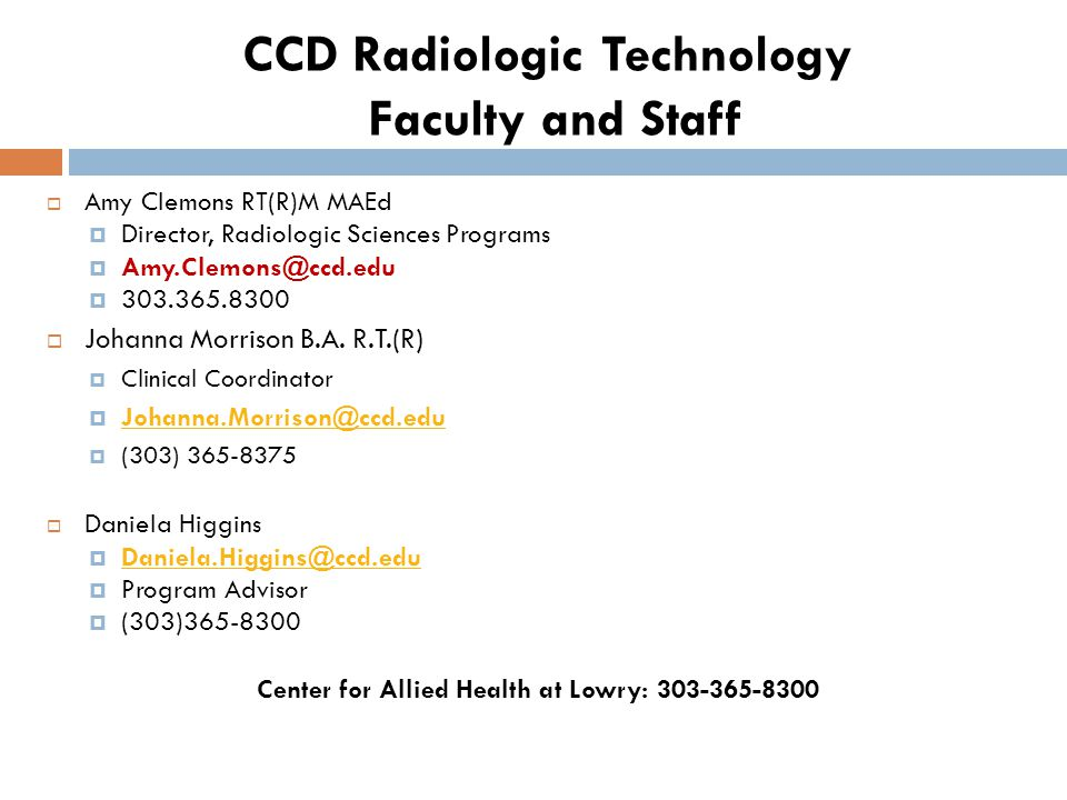 CCD Radiologic Technology Faculty and Staff