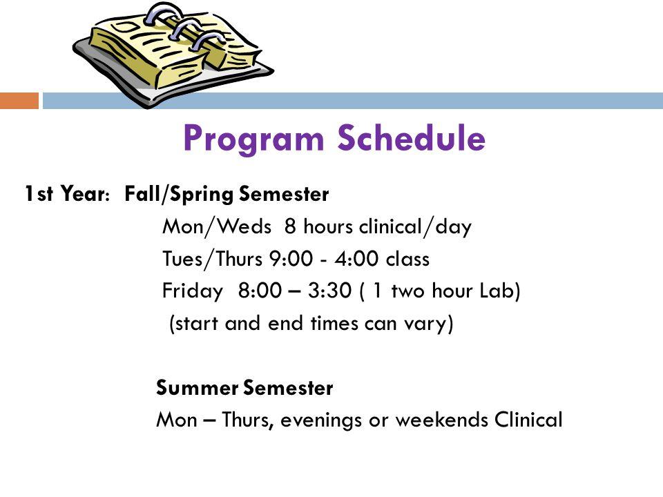 Program Schedule 1st Year: Fall/Spring Semester