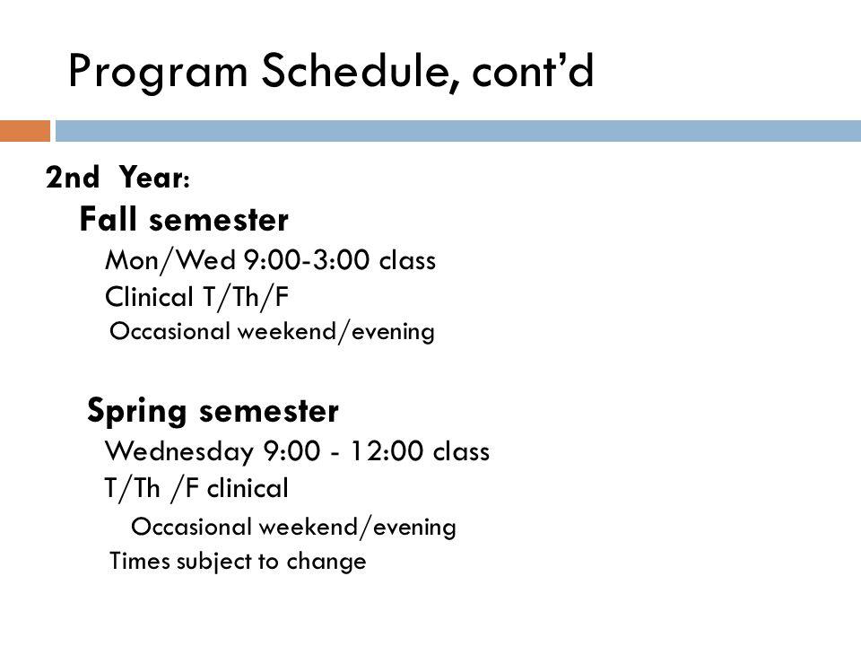 Program Schedule, cont'd