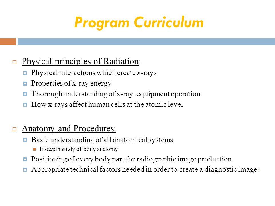 Program Curriculum Physical principles of Radiation: