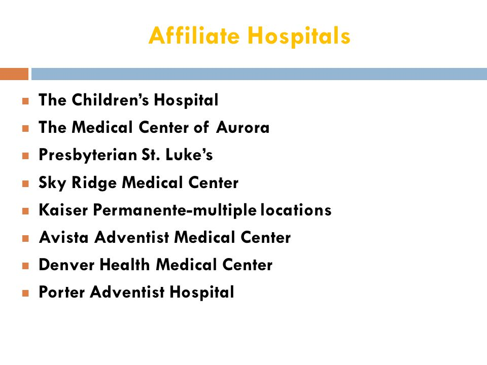 Affiliate Hospitals The Children's Hospital