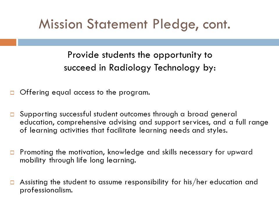Mission Statement Pledge, cont.