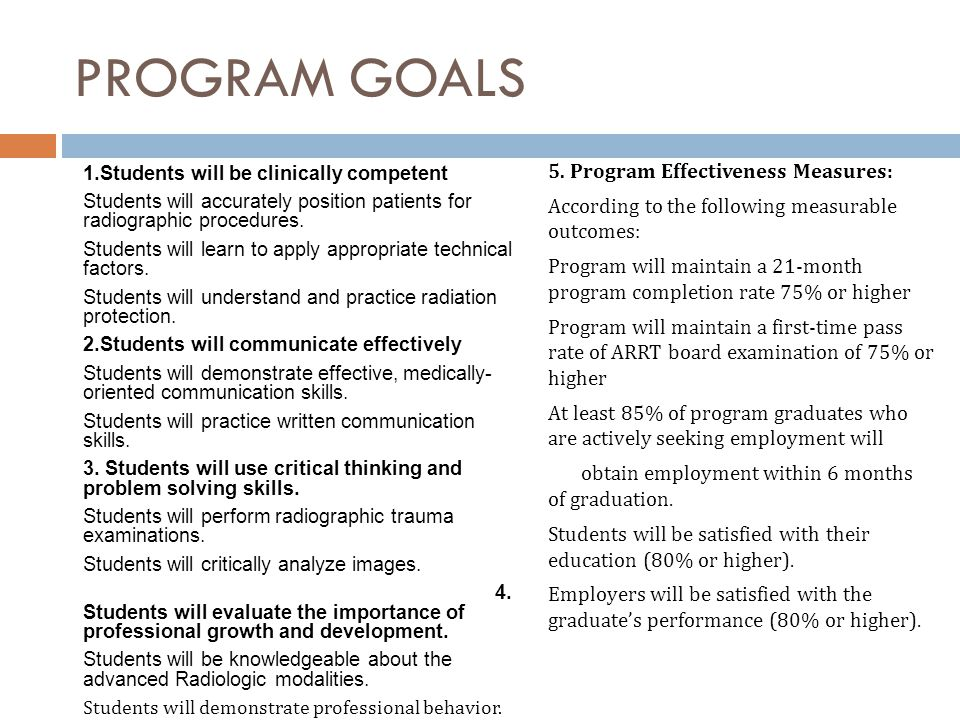 PROGRAM GOALS 5. Program Effectiveness Measures: