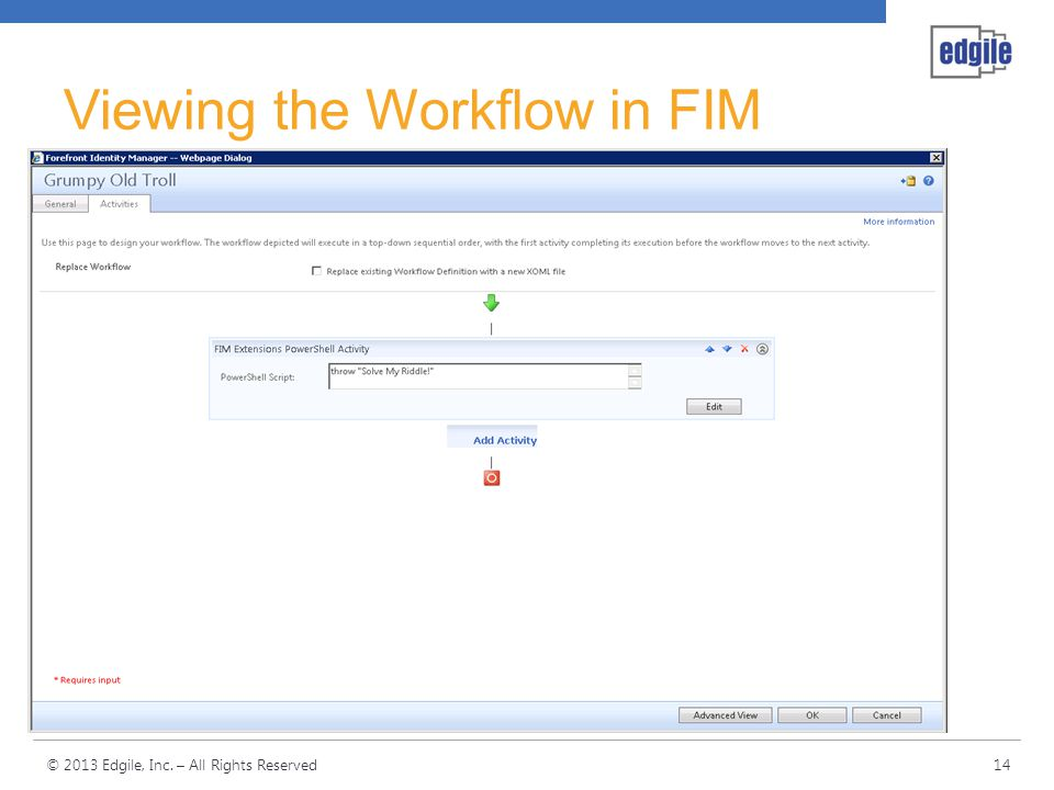 Viewing the Workflow in FIM