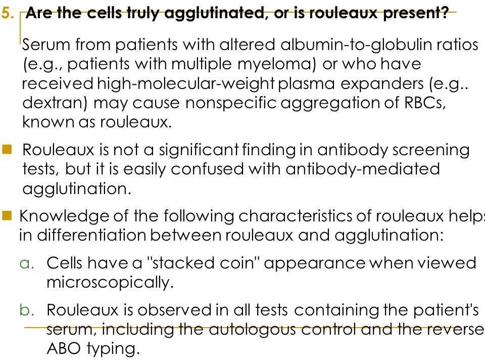 Are the cells truly agglutinated, or is rouleaux present