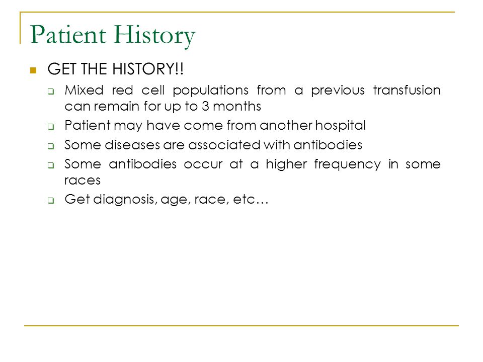 Patient History GET THE HISTORY!!