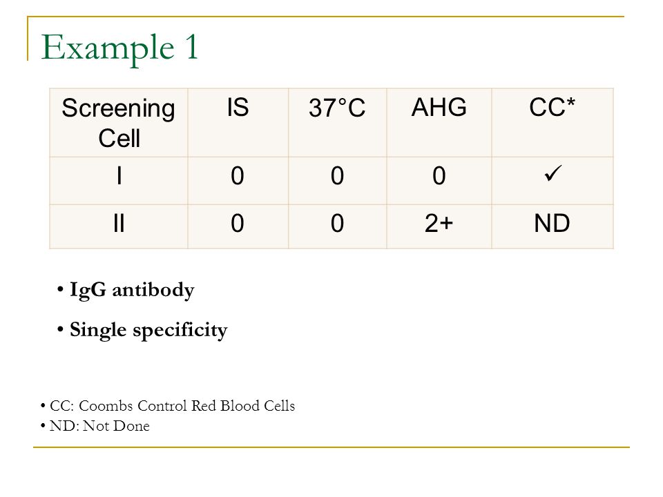 Example 1 Screening Cell IS 37°C AHG CC* I  II 2+ ND IgG antibody