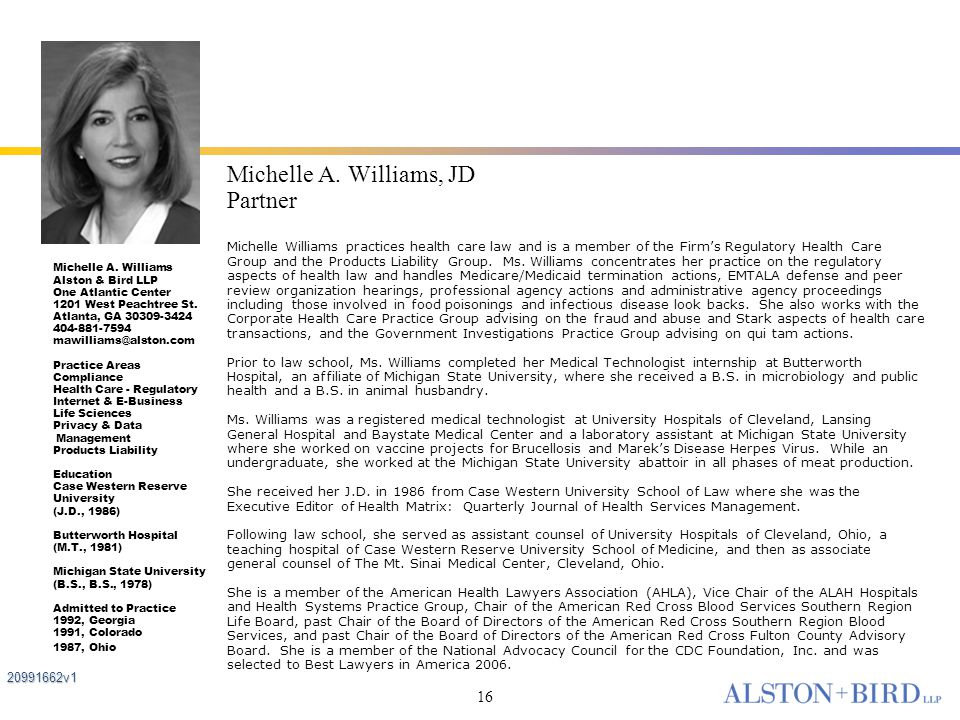 Michelle A. Williams, JD Partner