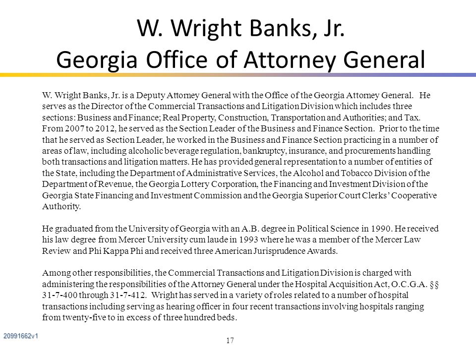 W. Wright Banks, Jr. Georgia Office of Attorney General