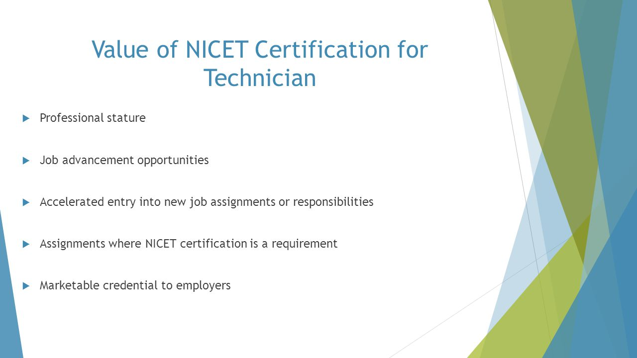 Value of NICET Certification for Technician
