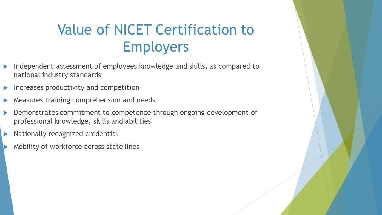 Value of NICET Certification to Employers