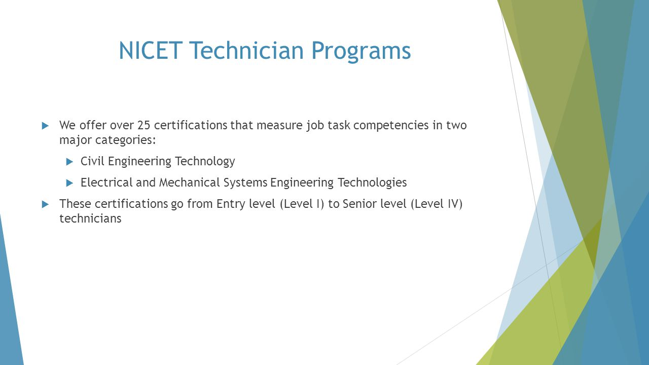 NICET Technician Programs
