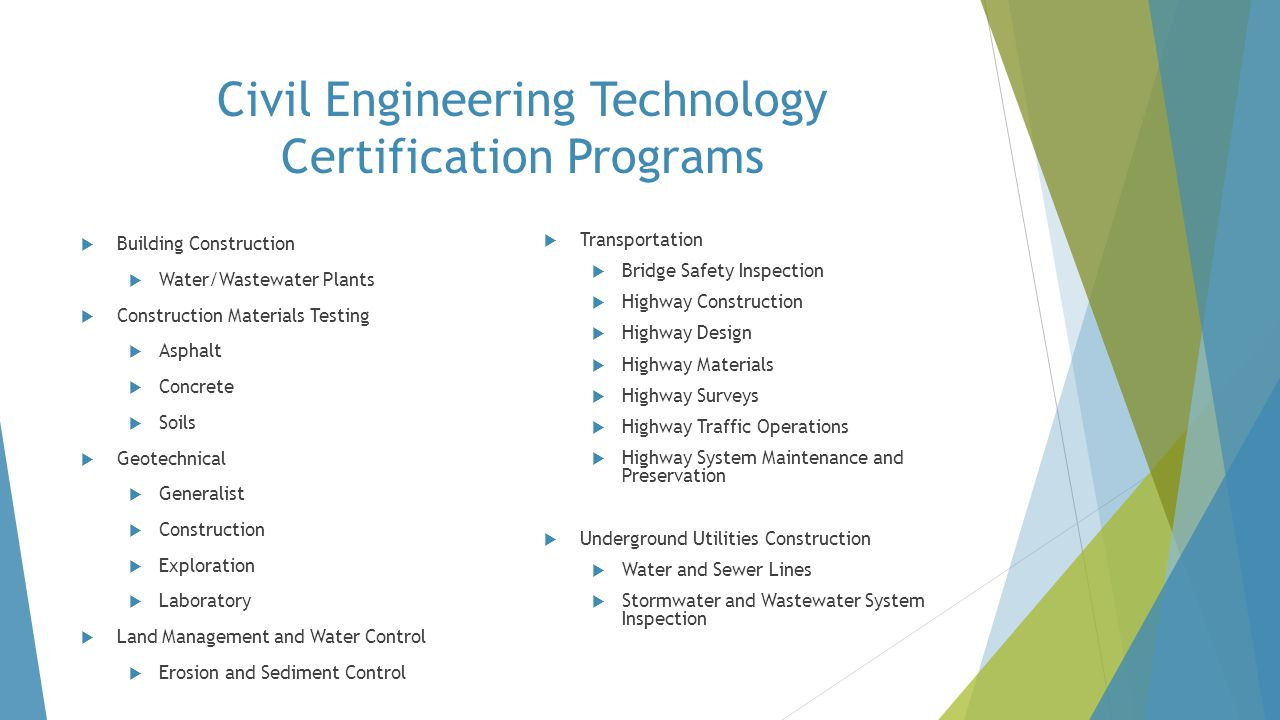 Civil Engineering Technology Certification Programs