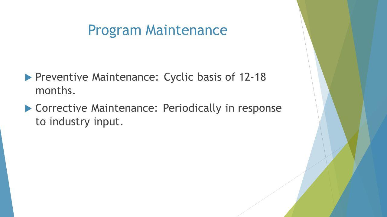Program Maintenance Preventive Maintenance: Cyclic basis of 12-18 months.