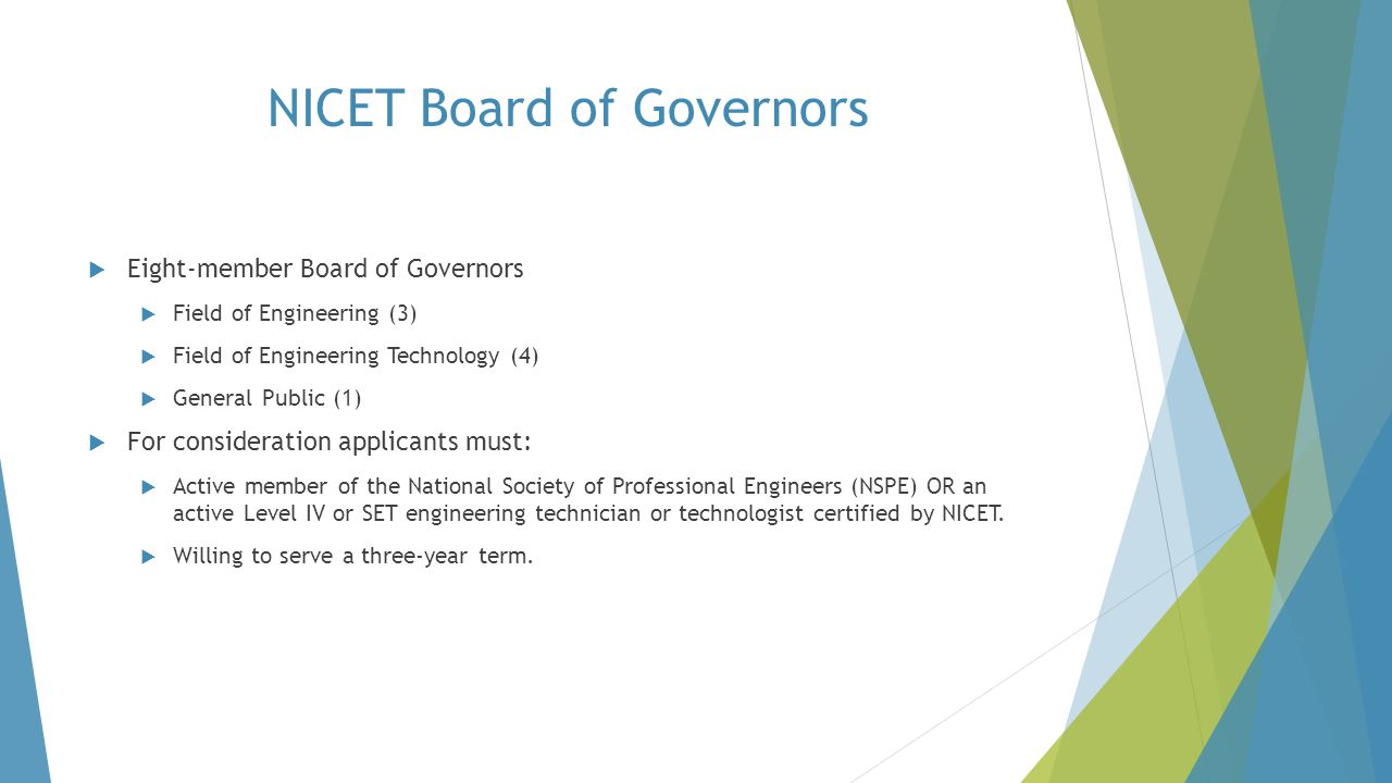 NICET Board of Governors