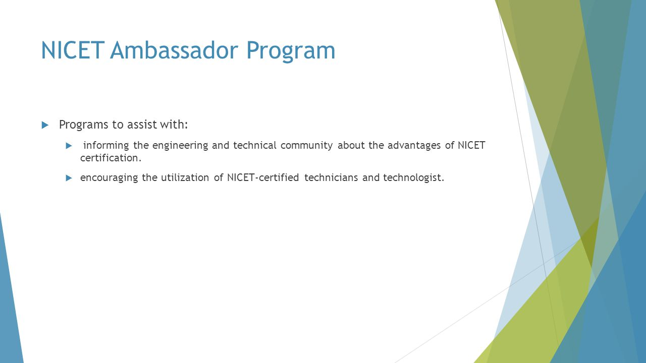 NICET Ambassador Program
