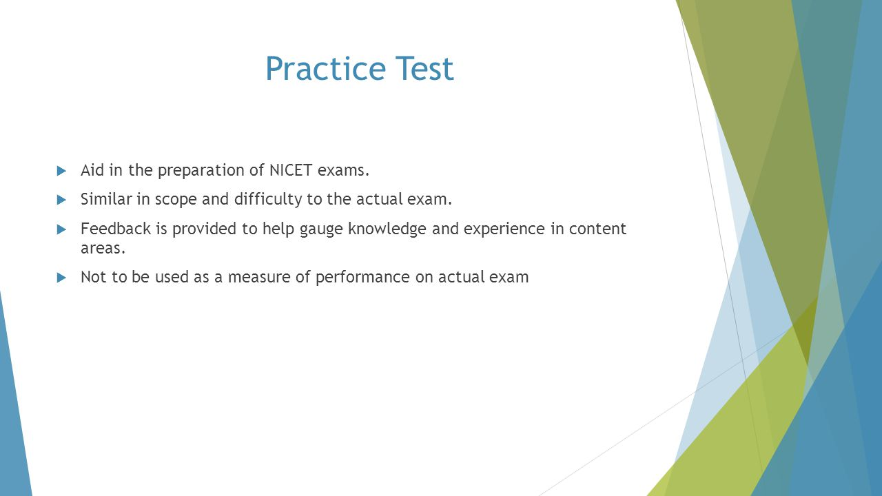 Practice Test Aid in the preparation of NICET exams.