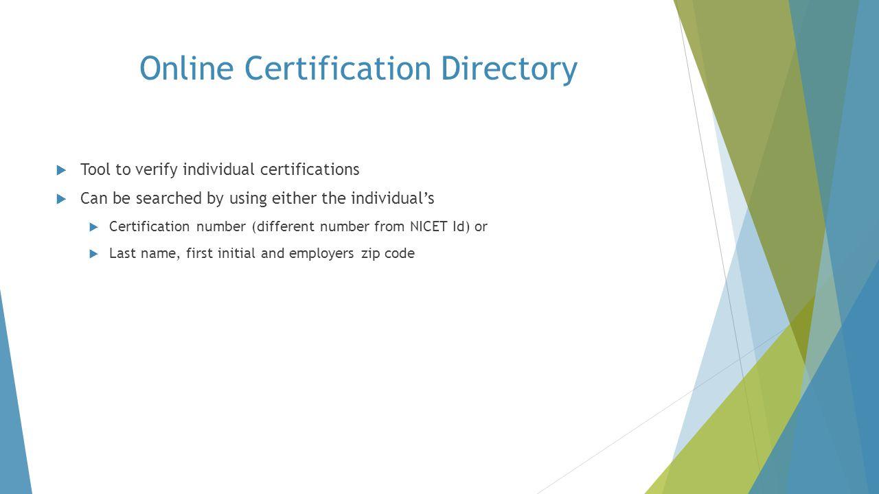 Online Certification Directory