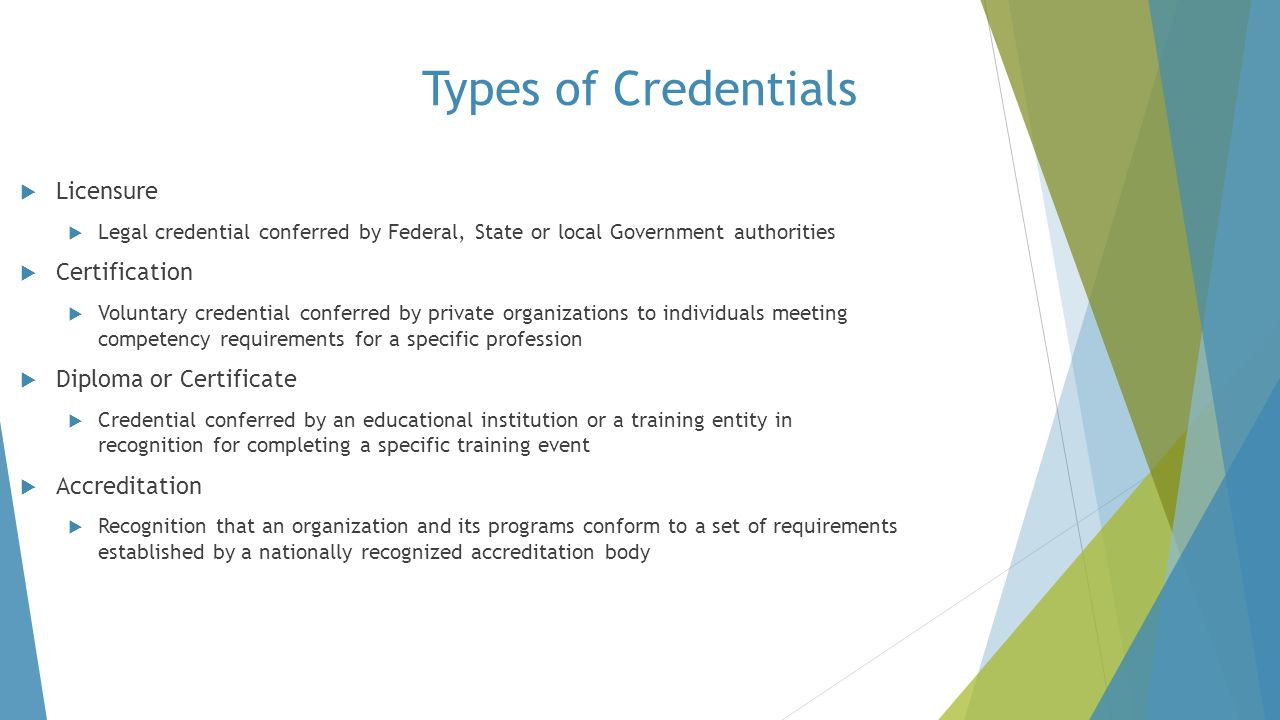Types of Credentials Licensure Certification Diploma or Certificate