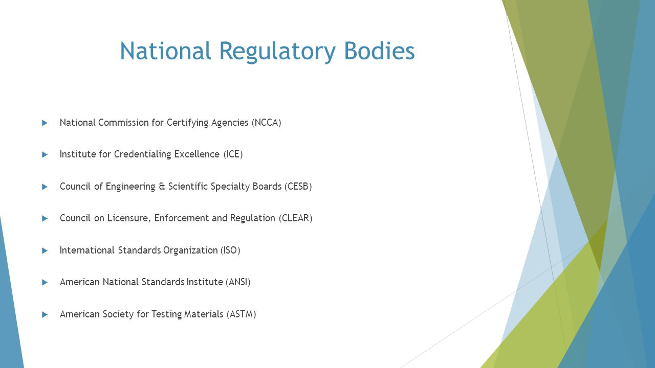 National Regulatory Bodies