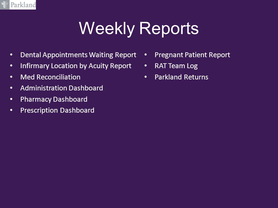 Weekly Reports Dental Appointments Waiting Report