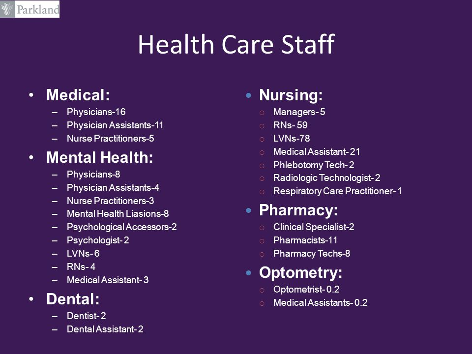Health Care Staff Medical: Mental Health: Dental: Nursing: Pharmacy: