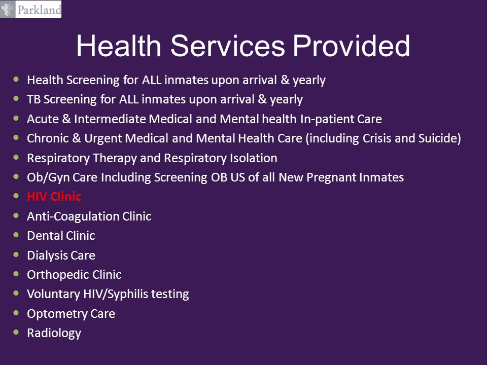 Health Services Provided