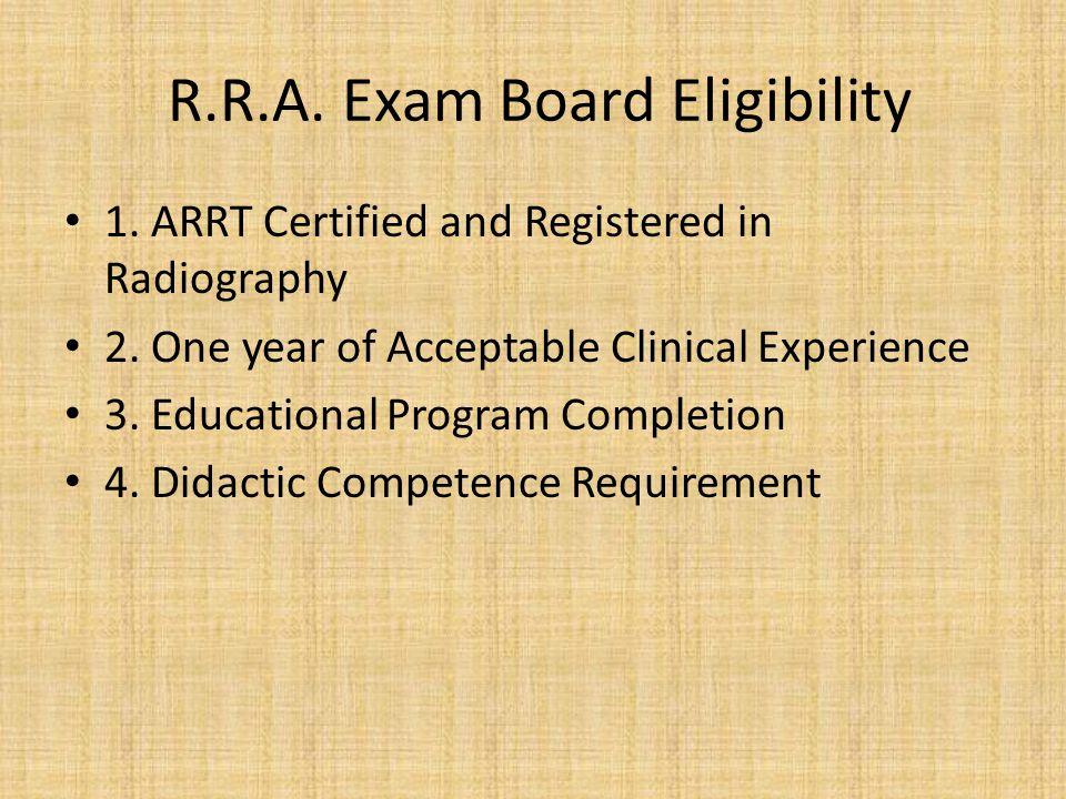R.R.A. Exam Board Eligibility