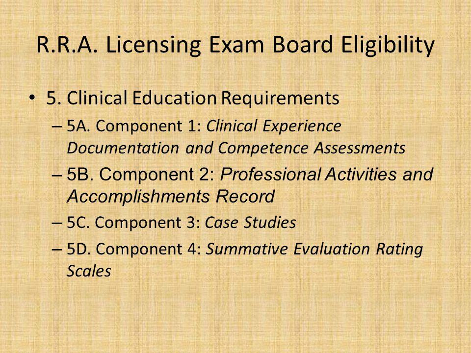R.R.A. Licensing Exam Board Eligibility