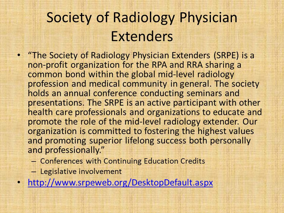 Society of Radiology Physician Extenders