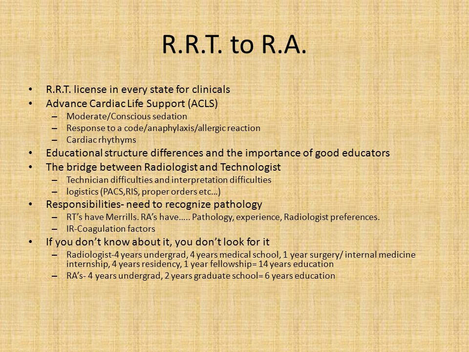 R.R.T. to R.A. R.R.T. license in every state for clinicals